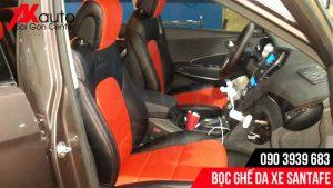 bọc ghế da santafe đỏ đen