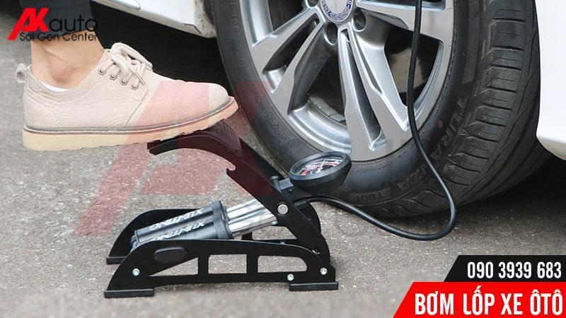bơm lốp đạp chân nhiều hạn chế