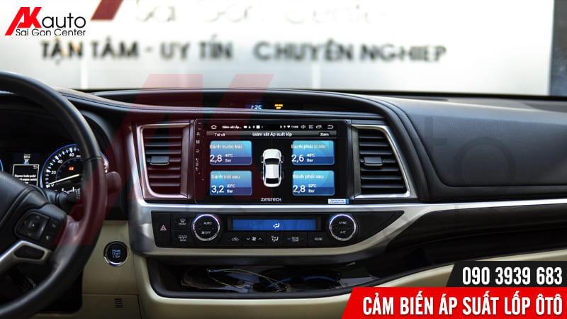 hiển thị áp suất lốp trên màn hình ô tô