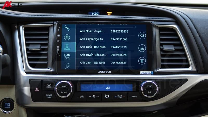 đồng bộ danh bạ điện thoại với màn hình ô tô