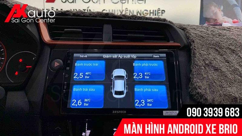 màn hình brio hiển thị áp suất lốp