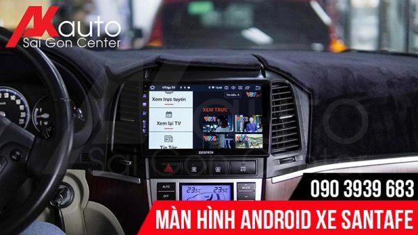 lắp màn hình android Santafe chĩnh hãng HCM