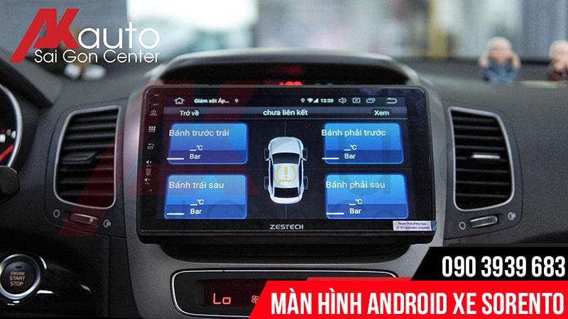màn hình sorento hiển thị cảm biến áp suất lốp