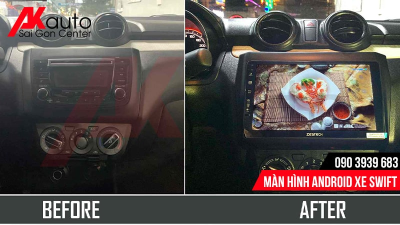 lắp màn hình cho xe swift hcm