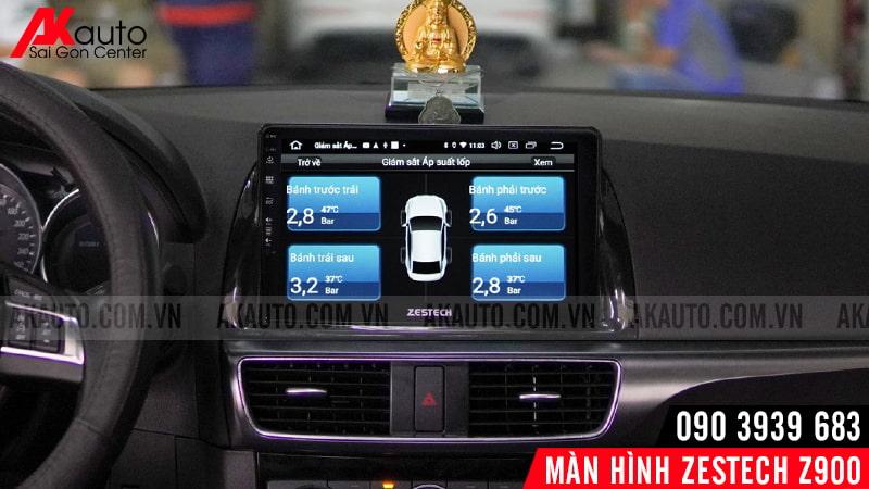 hiển thị thông số áp suất lốp trên màn hình zestech z900 ô tô