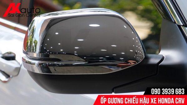 lắp ốp gương chiếu hậu mạ crom xe CRV
