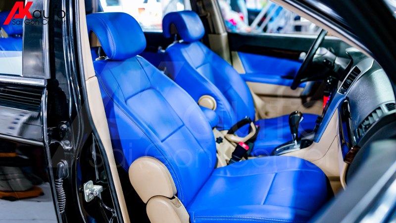 bọc ghế da màu xanh