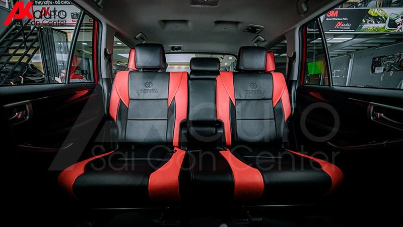 phối màu ghế da đỏ đen