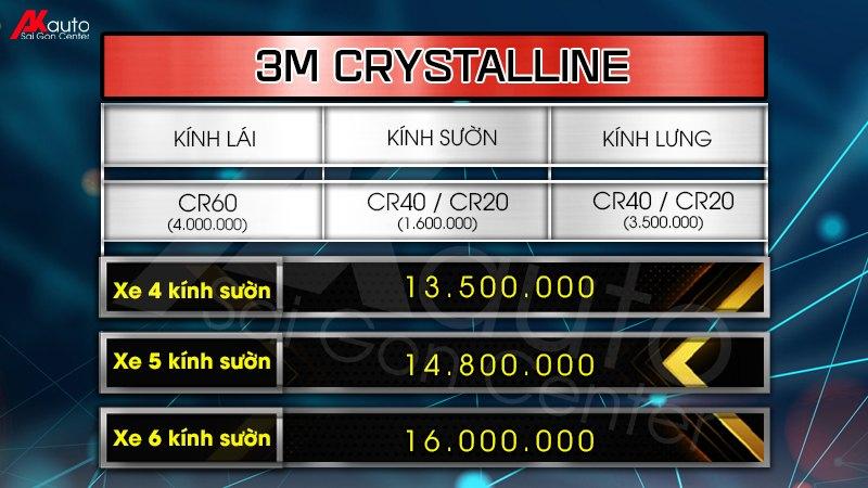 bảng giá phim cách nhiệt 3M crystalline