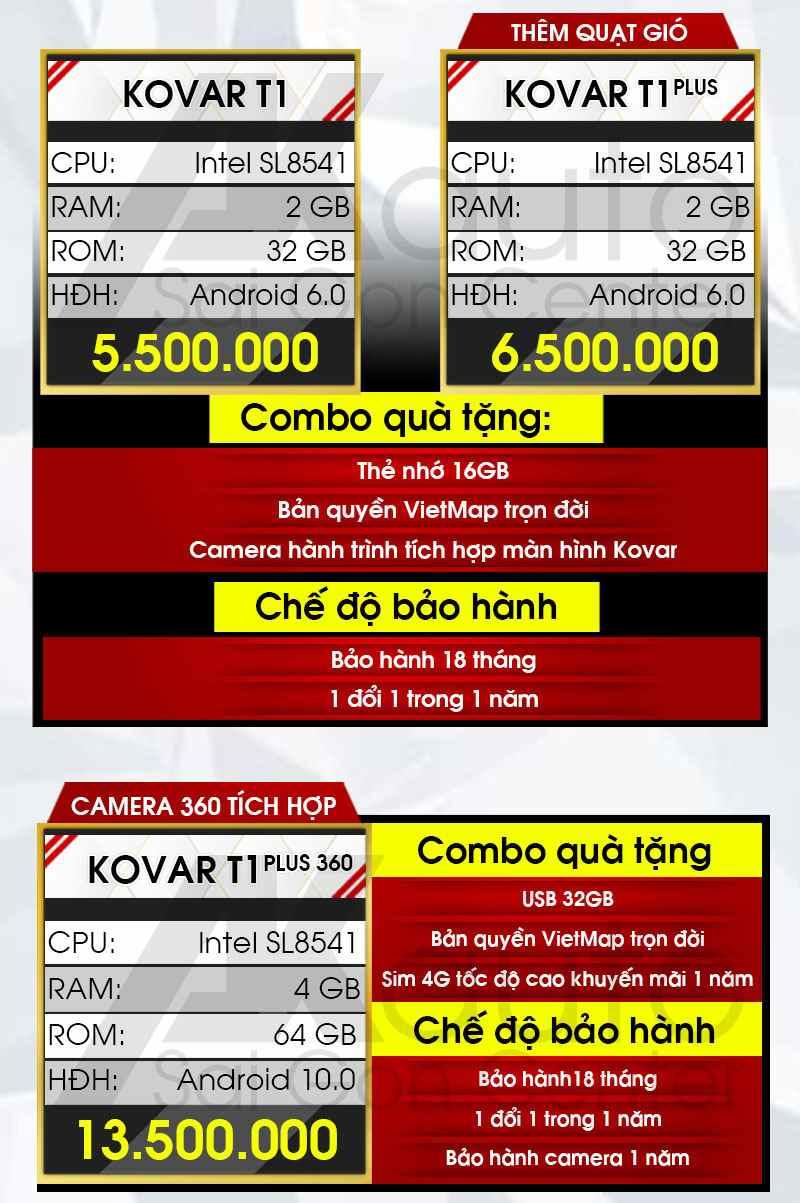 bảng giá màn hình ô tô kovar giá rẻ