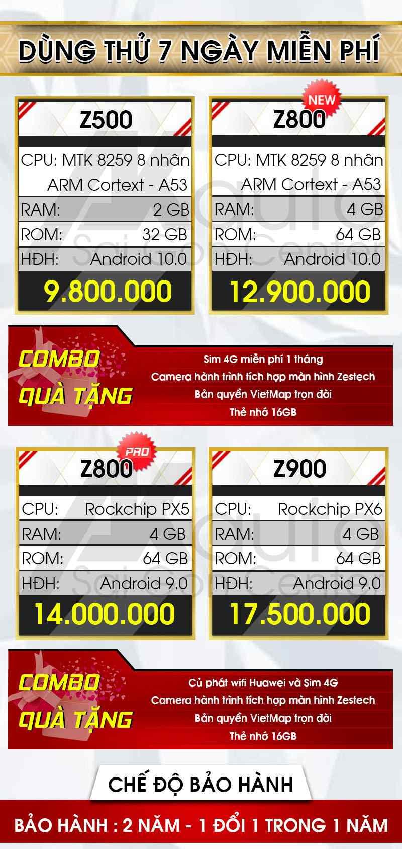 bảng giá màn hình ô tô zestech