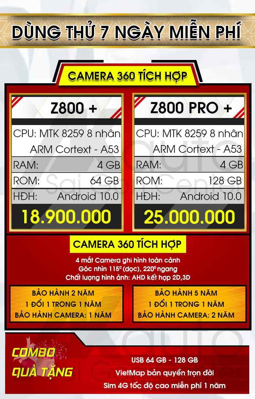 giá màn hình zestech liền camera 360